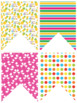 Colourful Bunting- Editable (pineapple, cactus, flamingo, tropical and school)