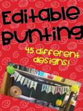 Colourful Bunting- Editable (pineapple, cactus, flamingo,
