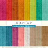 Colourful Burlap Textures Digital Paper, scrapbook backgrounds