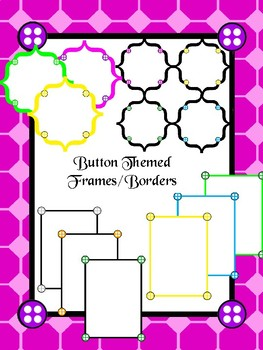 Colourful Button Themed Borders and Frames for Commercial use