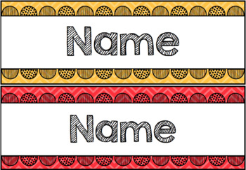 Colourful Chevron Desk/Tote Tray Labels