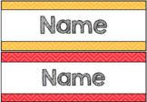 Colourful Chevron Desk/Tote Tray Labels