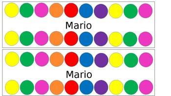Colourful Circle Name Tags