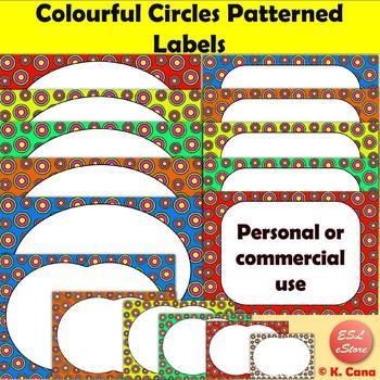 Colourful Circles Patterned Digital Labels Clip Art