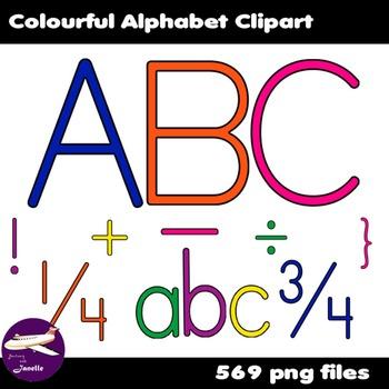 Alphabet Clip Art in Bright Colors in Numerals, Punctuation Marks & Math Symbols