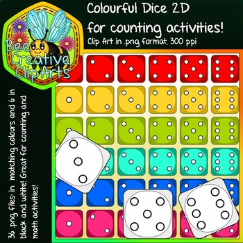 Colourful Counting Dice 2D Clipart - Bee Creative Clip Arts