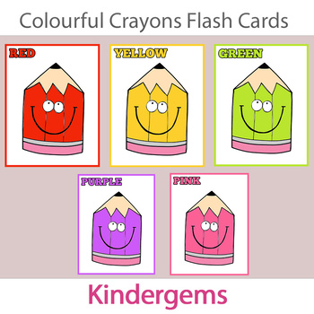 Colourful Crayons Flash Cards Instant Download PDF; Presch