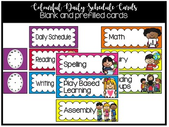 Colourful Daily Schedule Cards