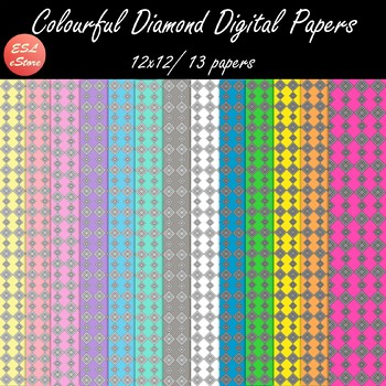 Colourful Diamonds Digital Papers Set (Pastel and Bright)