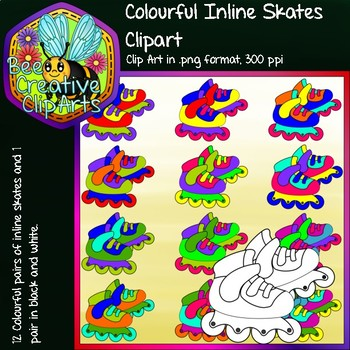 Colourful Inline Skates (Pairs) - Bee Creative Clip Arts - Freebie 2018