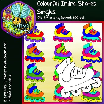 Colourful Inline Skates Singles - Bee Creative Clip Arts