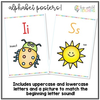 Colourful Rainbow Dot Word Wall Headings & Number & Alphabet Posters