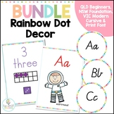 Colourful Rainbow Dot Word Wall Headings & Number & Alphab