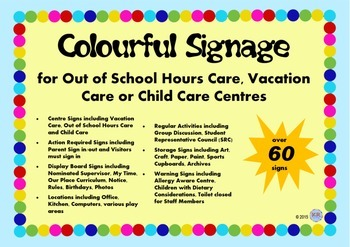 Colourful Signage for OSHC Out of School Hours Vacation Ca