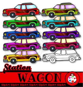 Colourful Station Wagon Clip Art