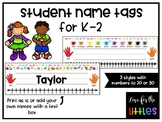 Colourful Student Name Tags for Primary Students