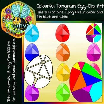 Colourful Tangram Egg - Clip Art - Bee Creative Clip Arts