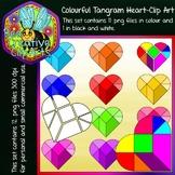 Colourful Tangram Heart - Clip Art (Bee Creative Clip Arts)