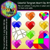 Colourful Tangram Heart - Clip Art (Bee Creative Clip Arts)