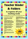 Bright Colourful Teacher Binder Cover and Document Bundle - Australian Teachers