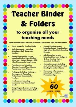 Bright Colourful Teacher Binder Cover and Document Bundle - Australian Teachers