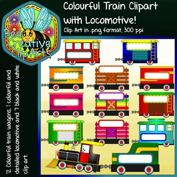 Colourful Train with Locomotive - Bee Creative Clip Arts - 2018
