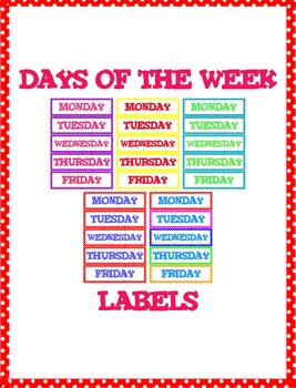 Classroom labels: Days of the week ~ Polkadot design