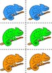 Colourful chameleons flashcards matching game colour