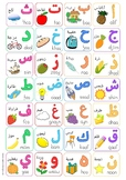 Colourful, fun arabic alphabet wall poster