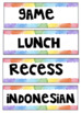 Colourful visual diary labels