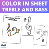 Colouring / Coloring Sheet - Treble Clef and Bass Clef