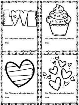 Colouring Page Printable Valentine's Day Cards (Junior) | TpT