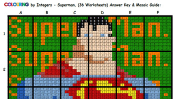 Colouring Superman by Integers (Add & Subtract), 36-Sheet Collaborative Mosaic