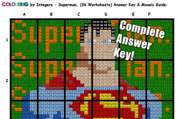 Colouring Superman by Single Digit Multiplication, 36-Sheet Collaborative Mosaic
