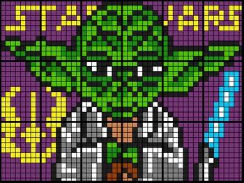 Colouring  Yoda by Proportions & Unit Rates (18 and 28 Sheet Math Mosaics)