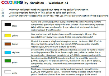 Colouring by Annuities - Lazy Giraffe, PV, FV & Interest (16, 20 & 25 versions)