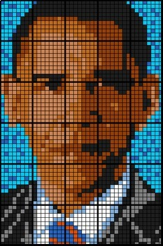 Colouring by Annuities - Obama, solve for PV, FV, & Interest (30 sheet mosaic)