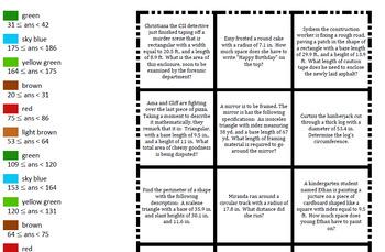 Colouring by Area & Perimeter, Apple Tree (4 versions, 20-Sheet Mosaics)