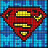 Colouring by Exponent Laws, Superman Logo (2 Versions, 9 sheet mosaics)