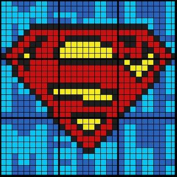 Colouring by Exponent Laws, Superman Logo (2 Versions, 9 sheet mosaics)