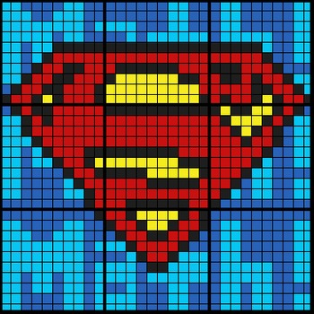 Colouring by Exponent Laws, Superman Logo (2 Versions, 9 s
