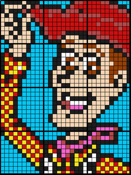Colouring by Exponentials and Logarithms, Woody (3 versions, 12 sheet mosaics)