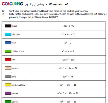 Colouring by Factoring _ Buzz (20 Worksheet Collaborative Math Mosaic)