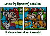 Colouring by Function Notation, Mario & Bowser (36, 25, and 16 Sheet Mosaics)