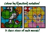 Colouring by Function Notation, Yoshi & Peach (36, 25, and 16 Sheet Mosaics)