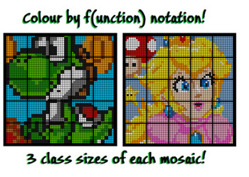 Colouring by Function Notation, Yoshi & Peach (36, 25, and 16 Sheet Mosaics)