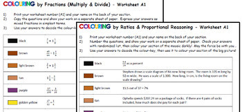 Colouring by Proportions, Fractions, Volume & Surface Area, One Step Equations
