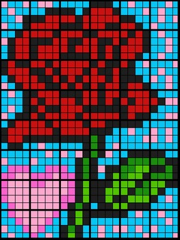 Colouring by Linear Equations and Percents, Rose Mosaic (4 Versions, 48 Sheets)