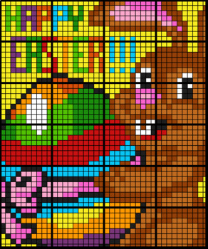 Colouring by Mean Median Mode, Easter Bunny (24 Sheet Math Mosaic)