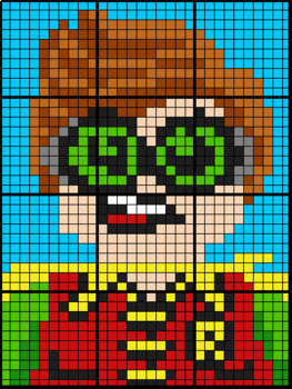 Colouring by Mean Median and Mode, Lego Robin (12 and 20 Sheet Mosaics)